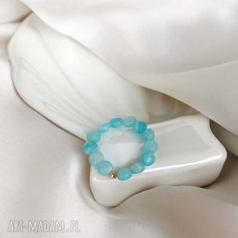 pierścionek - amazonit, elastyczny, kamienie naturalne