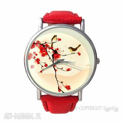 zegarki orientalne ptaszki - skórzany zegarek z dużą tarczką, zegarek