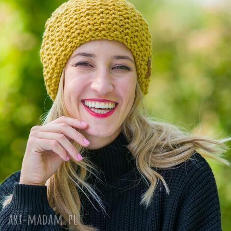 neverland pikantna musztarda czapka, zimowa zima, wełniana, wełna