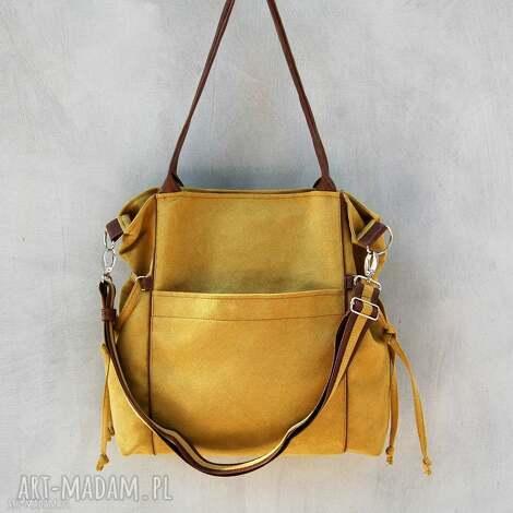 na ramię amber - duża torba shopper musztarda i brąz, duża, pojemna