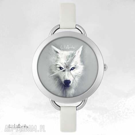 zegarek, bransoletka - biały wilk, bransoletka, skórzana, wilk