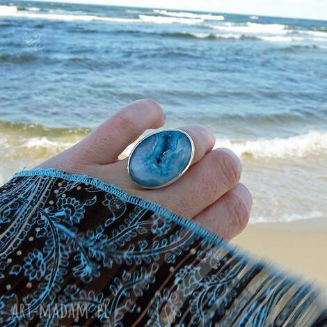 świąteczny prezent, druzy seashell ring, srebro, boho, surowy, morski, okazały