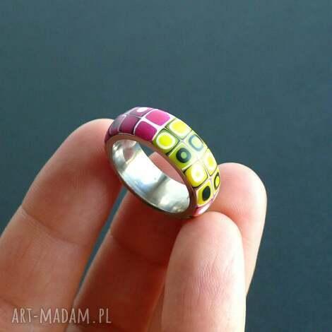 stalowa obrączka z polymer clay - obrączki, pierścionki, geometryczne, retro