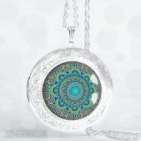 turkusowa mandala - piĘkny medalion otwierany - sekretnik, duzy, duży, owalny