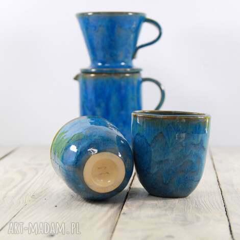 ceramika zaparzacz z dwoma czarkami, kawa, herbata, prezent, dzbanek, do kawy