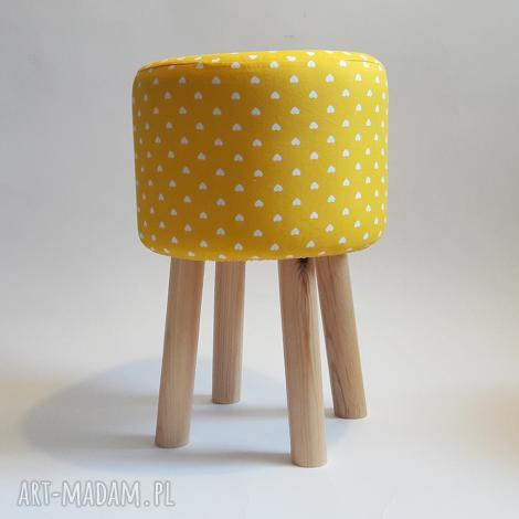 pufa żółte serduszka 2 - 45 cm, puf, taboret, hocker, vintage, stołek, puff