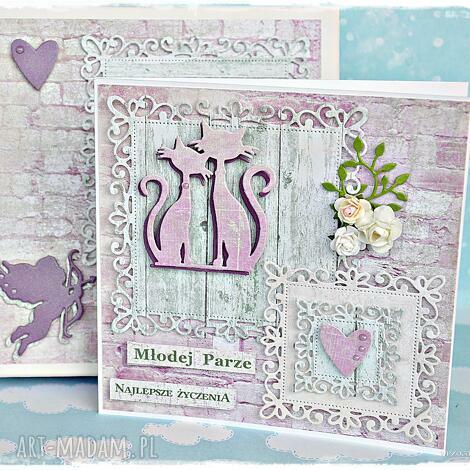 lawendowe koty - kartka na ślub personalizowana - kartka, pudełko, ślub