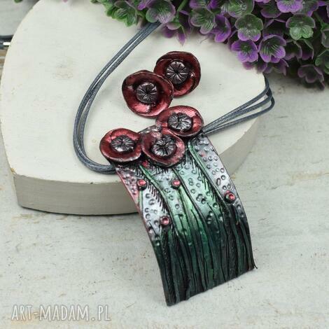 maki - komplet biżuterii wkrętki zawieszka, kolczyki maki, naszyjnik