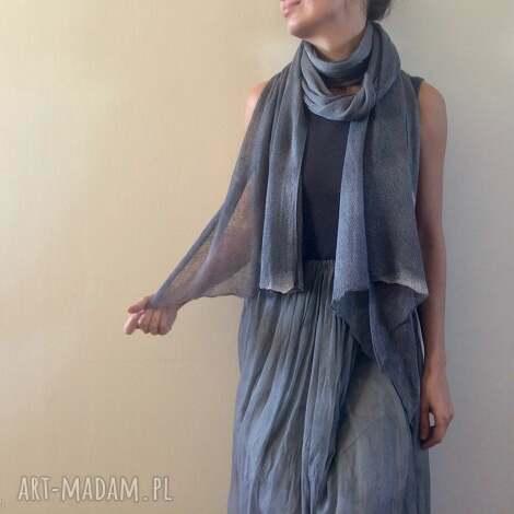 elegancki lniany ręcznie barwiony szal, len, lniany, dzianina, naturalny