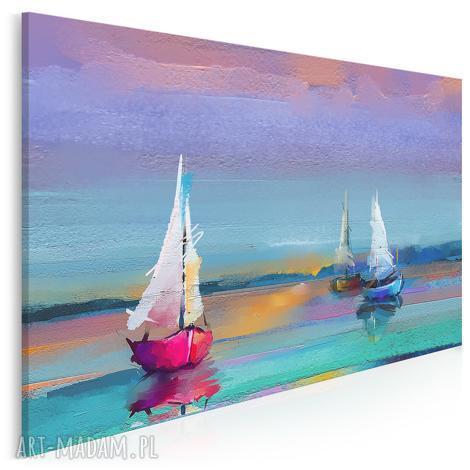 obraz na płótnie - kolorowy żaglówki mazury jezioro 120x80 cm 89501