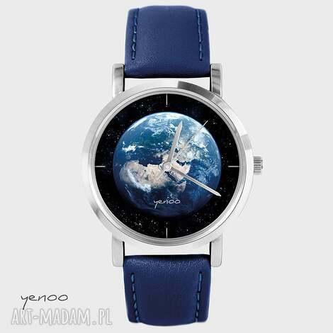 zegarki zegarek, bransoletka - ziemia granatowy, skórzany, pasek
