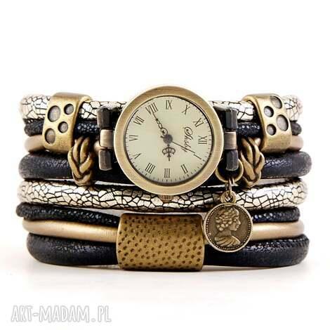 zegarek-bransoletka czarno-złoty, owijany z zawieszką, zegarek bransoletka