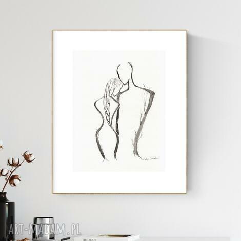 grafika 30x40 cm wykonana ręcznie, abstrakcja, obraz do salonu, 2626018