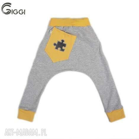 szare spodnie z żółtymi wstawkami - puzzel r 74-116, spodnie, puzzel