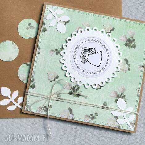 kartki pamiątka chrztu świętego kartka handmade mięta, chrzest, chrzciny