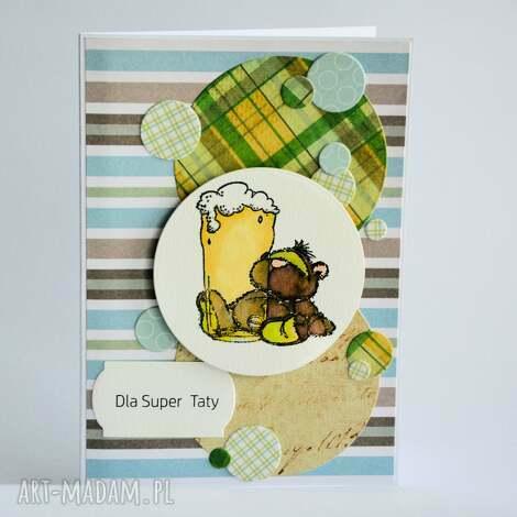 kartka - dla super taty - kartka, tata, żart, piwo, miś, zaufanie