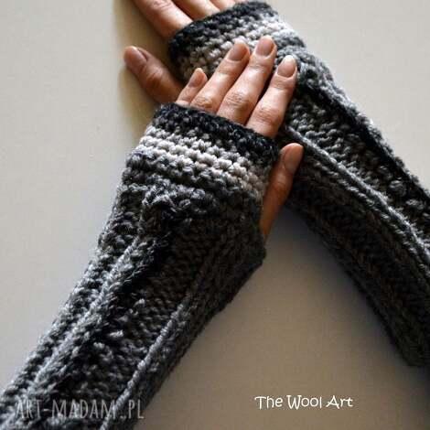 rękawiczki mitenki - rękawiczki, mitenki, szary, wełniane