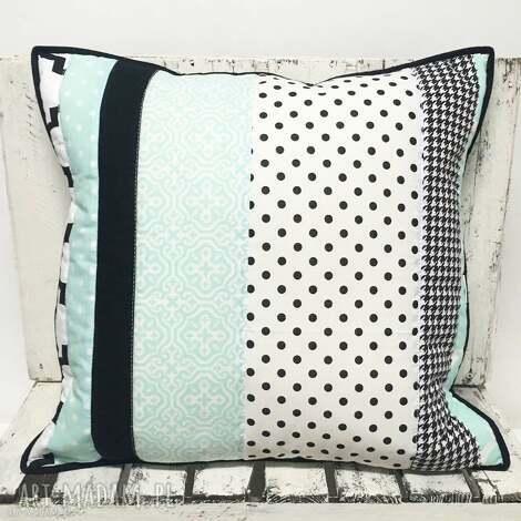 poduszki poduszka 51x49cm patchwork black an mint 01 od majunto, patchwork, miętowa