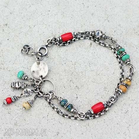 bransoletka boho ii, chryzokola, koral, biżuteria na lato, kolorowe