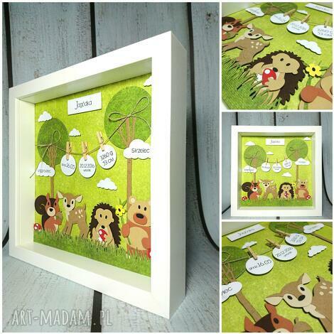 metryczka - lesni przyjaciele - urodziny, narodziny, chrzest, las, jeżyk, metryczka