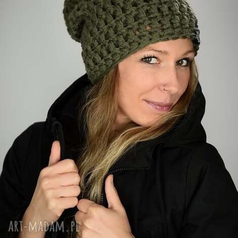 czapka mono 25 - khaki czapa military, unisex, prezent, upominek ciepła