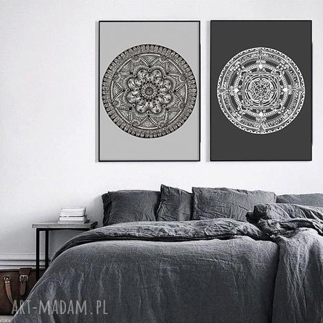 zestaw dwóch prac 60x90cm, mandala, mandale, grafika, plakat, etno dom