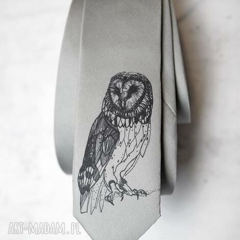 świąteczny prezent, krawat z nadrukiem - sowa, krawat, śledź, nadruk