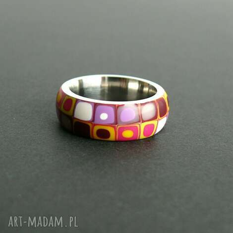 stalowa obrączka z polymer clay - obrączki, pierścionki, geometryczne