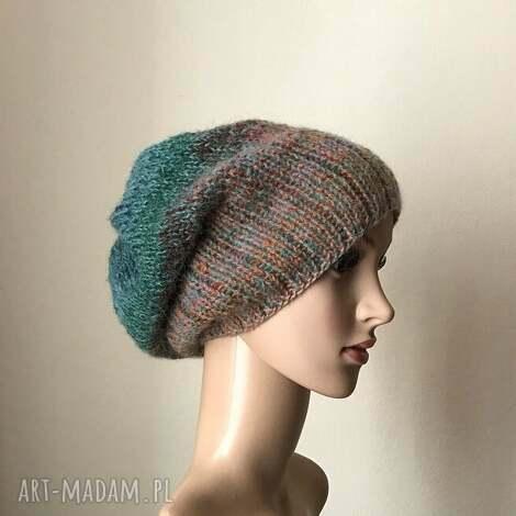 jesienny las czapa - czapka, rękodzieło, zima, prezent