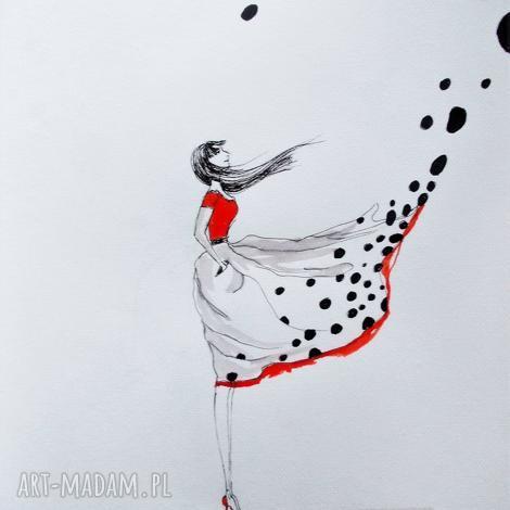 akwarela i piórko wiatr zmian artystki plastyka adriany laube, akwarela, kobieta