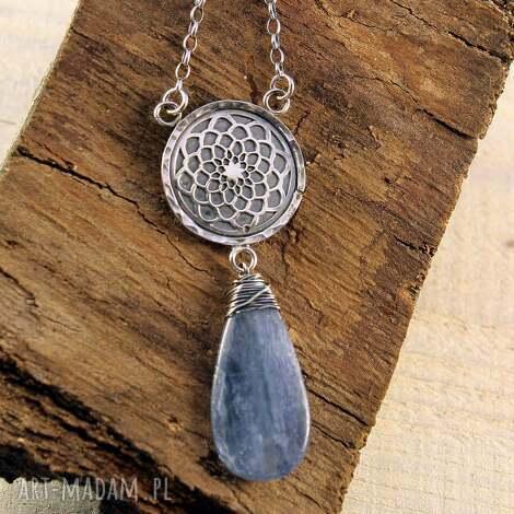 kyanit i słodka noc - srebrny wisior, mandala, srebrne biżuteria, prezent, srebro