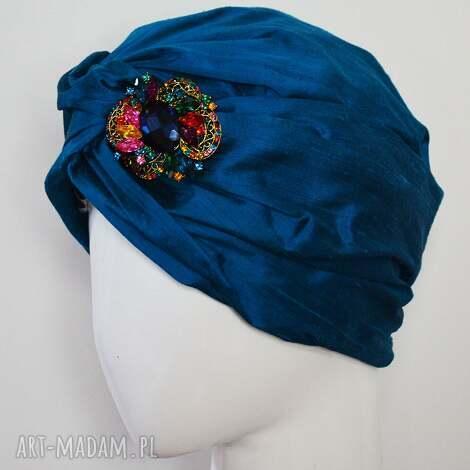 jedwabny turban - szantung, jedwab turkus
