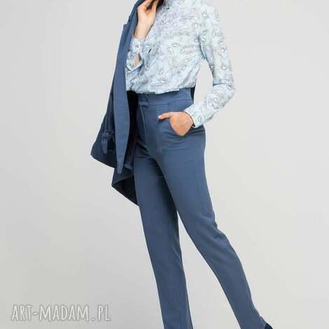spodnie bez mankietów, sd114 niebieski, wysokie, eleganckie, kant, niebieski