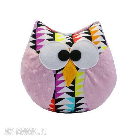 sowa coco, różowa, mozaika, na prezent, przytulanka, sowa, zabawka
