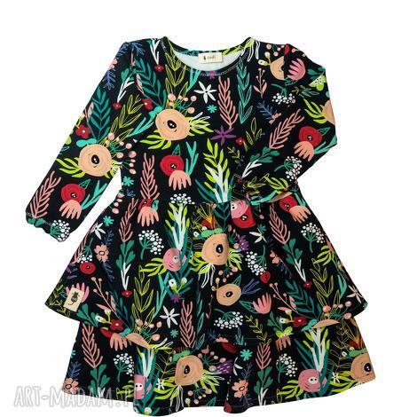 sukienka flowerbomb, sukienka, falbany, kwiaty, dziewczęca, jesienna, łąka