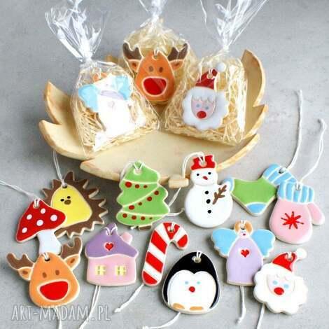 zestaw zawieszek świątecznych świąteczne ozdoby, ozdoby choinkowe renifer