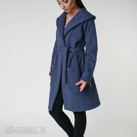 płaszcz z ciepłym kołnierzem jeansowy s-m 36 38 - płaszcz, długi