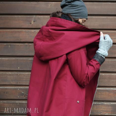 bordowy płaszcz, kurtka oversize ogromny kaptur na jesień zimę xl, kurtka