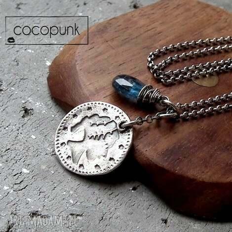 srebro i kianit- naszyjnik she - z-monetką, z-zawieszkami, nowoczesny, surowy