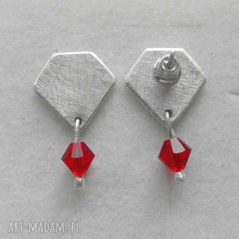 diament kolczyki - srebro, swarovski, zmatowione