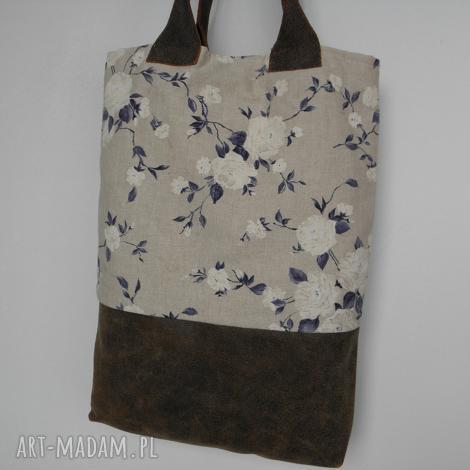 na ramię shopper bag niebieskie róże - skóra i len, skóra, torba, laptop