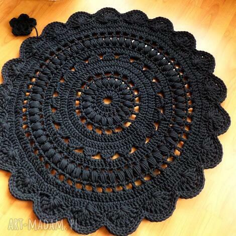 dywan wykonany ręcznie na szydełku 90 cm, dywan, dywanik, chodnik, wełna