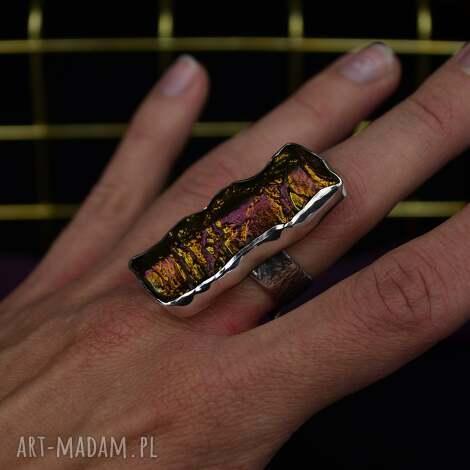 oryginalny pierścionek z dużym kamieniem - regulowany srebro