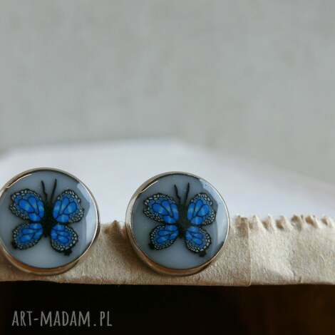 niebieskie motylki, kolczyki z polymer clay i żywicy, kolczyki, sztyfty, wkrętki