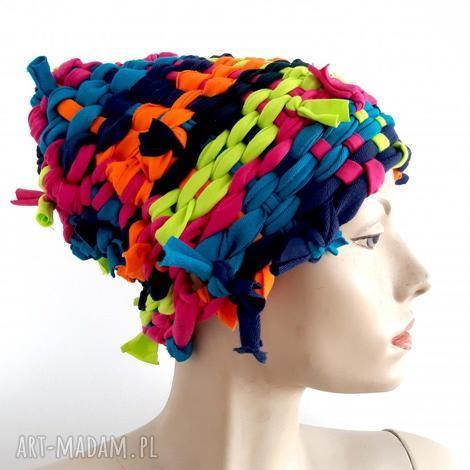 czapka tkana kolor 6 oryginalny prezent, tęcza, kolorowa czapka, ciepła