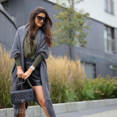 asymetryczny długi sweter płaszcz - swetry, płaszcze, asymetryczny, ciepły