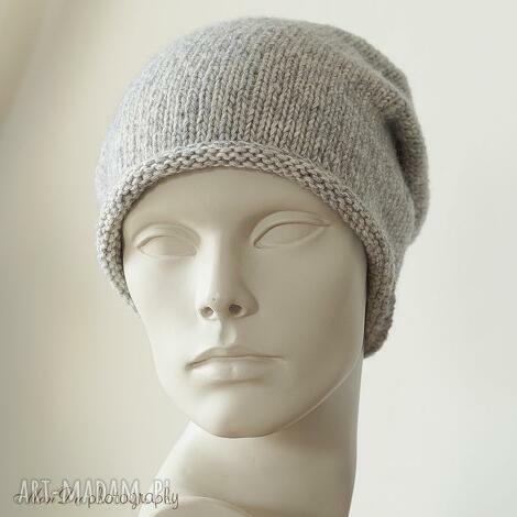 jesienna szara - czapka, bawełniana, wełniana, dziergana, smerfetka, unisex