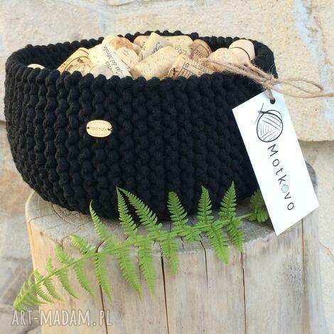 motkovo kosz misa mini be black, kosz, handmade, ręcznierobiony, przechowywanie