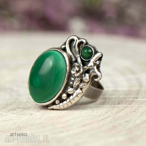 pierścionek srebrny z malachitem a604, srebrny, malachit