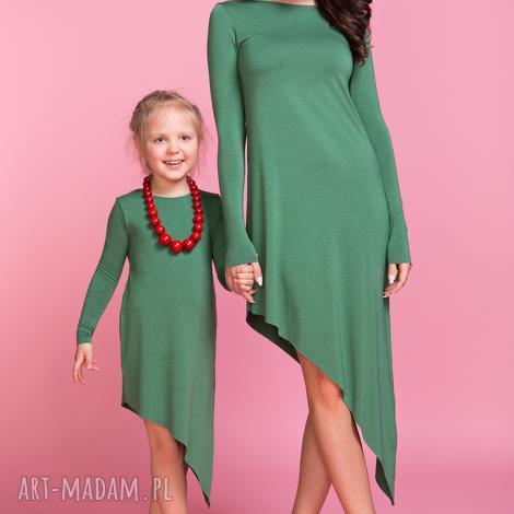sukienka asymetryczna z długim rękawem dziecko td3, kolor zielony - sukienka